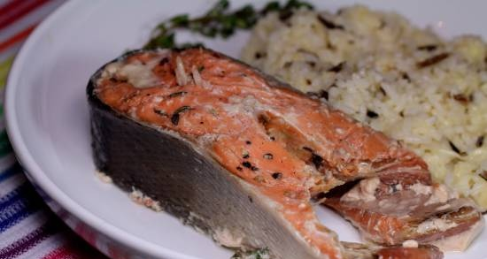 Salmon with thyme sous vide