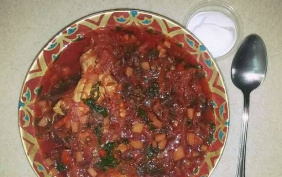 Thick beet chicken fillet soup with lentils and mushrooms