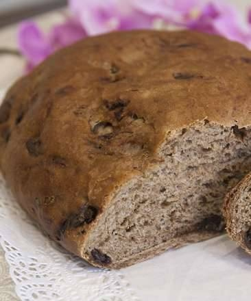 Italian bread with pieces of chocolate