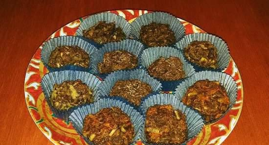 Rye buns without yeast with malt and vegetable fillings
