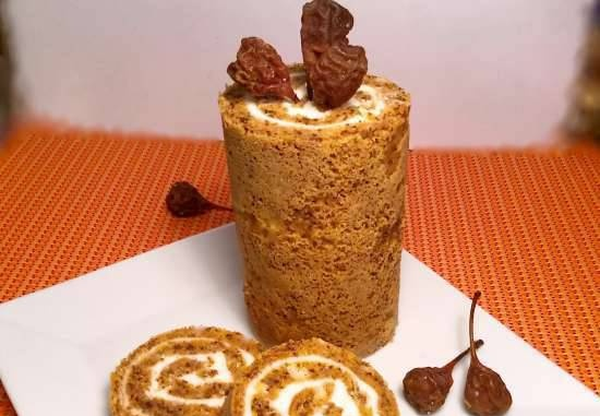 Pumpkin roll with cheese and curd cream