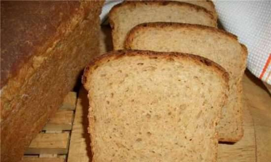 Multigrain wheat bread with fermented baked milk and whey (oven)