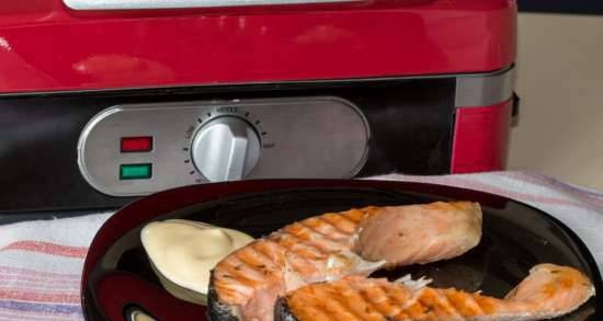 Salmon steak in a waffle iron GF-040 Waffle-Grill-Toast with three removable panels