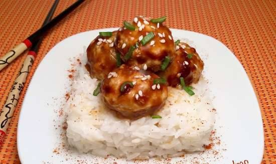 Oriental-style meatballs in a spicy soy-ginger glaze