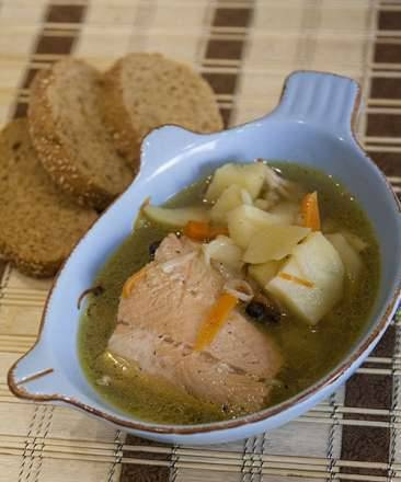 Homemade fish soup based on white fish broth by Auguste Escoffier's recipe (Zigmund & Shtain MC-DS42IH)