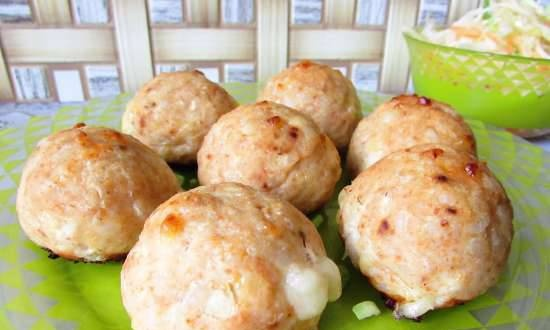 Chicken-rice-cheese balls with mozzarella (in a mold for making balls)