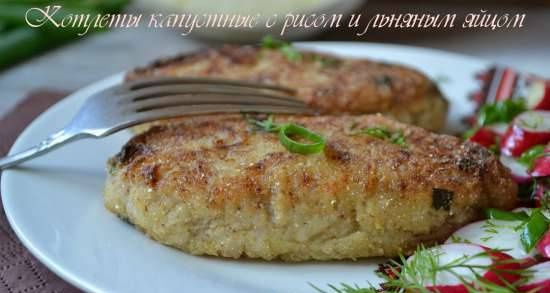 Cabbage cutlets with rice and flaxseed egg (lean)