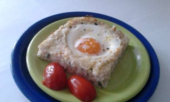 Rice and fish casserole with egg