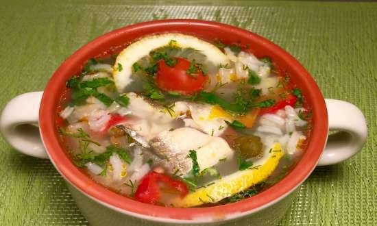 Fish soup with rice and bell pepper (from navaga or any fish)