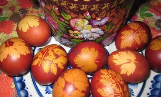 Easter eggs painted in stocking