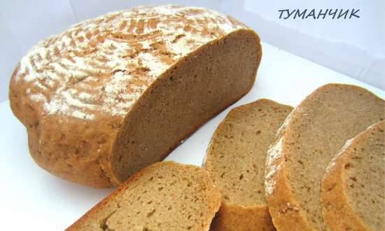 """Rye hearth bread 100% with sourdough culture """"Without nothing"""" (oven) (there is a conversion to yeast)"""