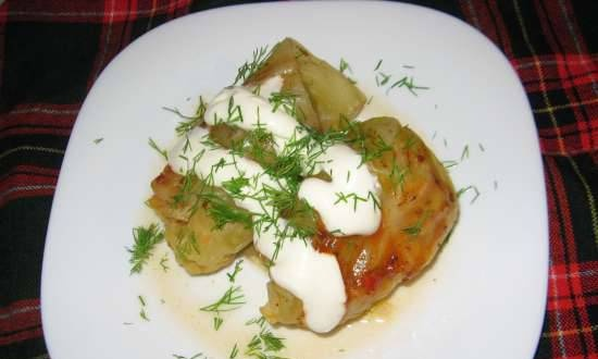 Stuffed cabbage rolls with pork and adjika in the Stadler Form multicooker