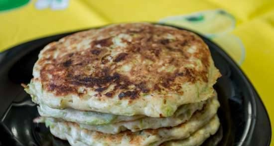 Zucchini pancakes with cottage cheese and oat flour
