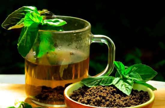 Fermented tea and fiber from aromatic herbs