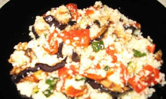 Grilled eggplant salad, dried vegetables and couscous (grill, microwave)