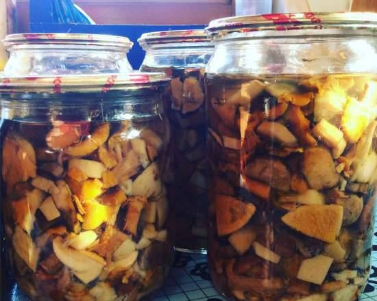 Mushrooms without vinegar for frying in an autoclave