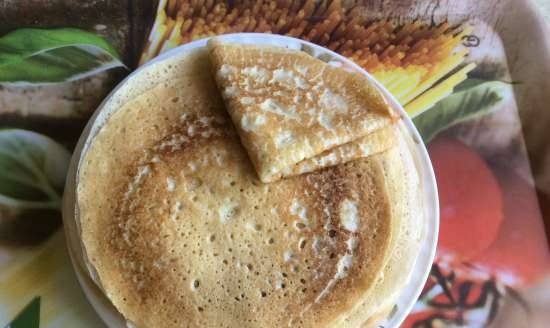 Pancakes with kefir in a submersible crepe maker Delimano Pancake Master