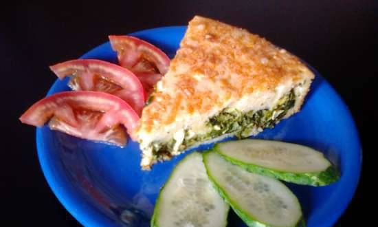 Jellied Pie with Eggs, Green Onions and Spinach