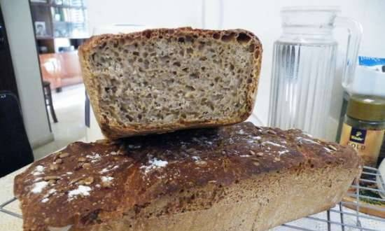 Rye European bread with honey and caraway seeds