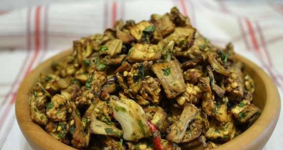 Dried eggplant pieces, in dry marinade