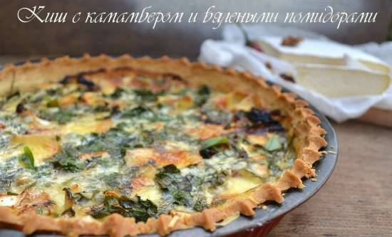 Quiche with camembert and sun-dried tomatoes