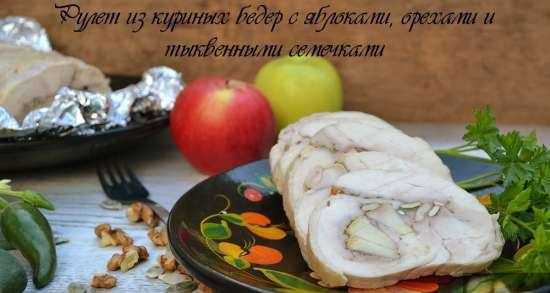 Chicken thigh roll with apples, nuts and pumpkin seeds