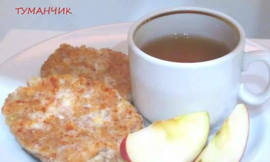 Cottage cheese with sprouted wheat and apple