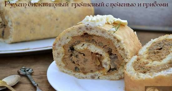 Buckwheat biscuit roll with liver and mushrooms