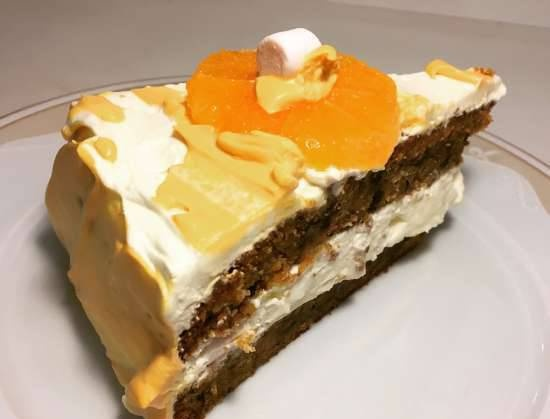 Carrot cake with walnuts and dried apricots