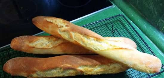 American baguettes without mixing (2.5 hours)