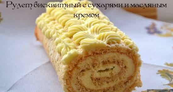 Sponge roll with breadcrumbs and butter cream