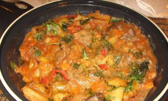 """Roast """"Hungarian motives"""" cooked in tagine (gas panel)"""