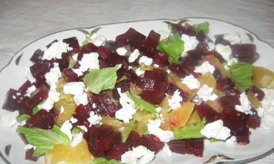 Salad with feta cheese, beetroot and orange