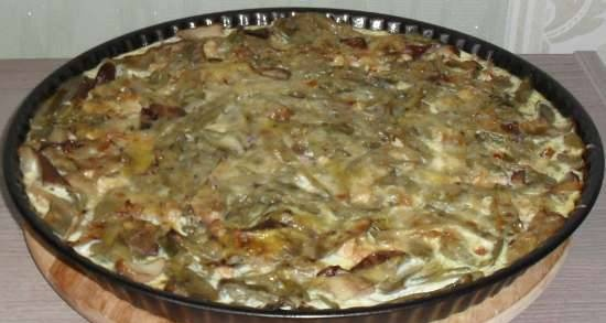 Asparagus casserole with chicken and mushrooms