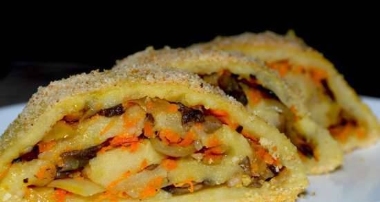 Potato roll with mushrooms and vegetables