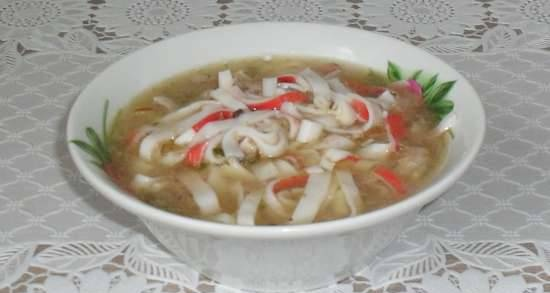 Canned fish soup with crab noodles