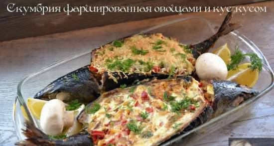 Mackerel stuffed with vegetables and couscous (lean and not lean option)