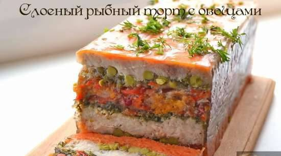Layered fish cake with vegetables