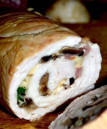 Turkey fillet roll with mushrooms and cheese