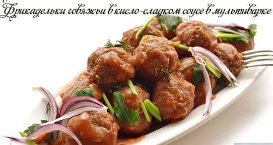Beef meatballs in sweet and sour sauce in a multicooker DEX-60