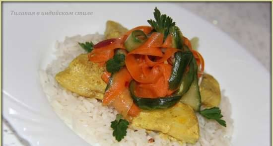 Indian style tilapia on rice pillow with carrot salad
