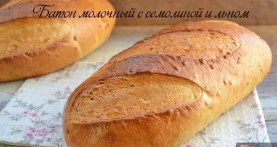 Milk loaf with semolina and flax