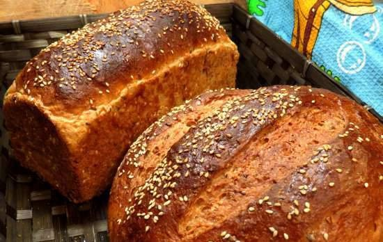 Bread with oatmeal, bran, sesame seeds and seeds