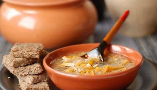 Lean turnip cabbage soup with buckwheat