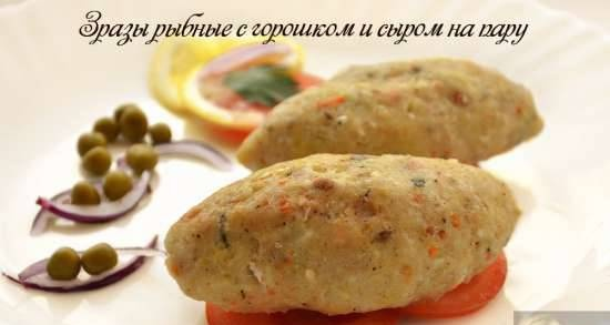 Fish zrazy with peas and steamed cheese