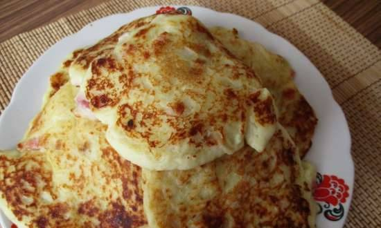 Potato pancakes with cheese and bacon made from potato flakes