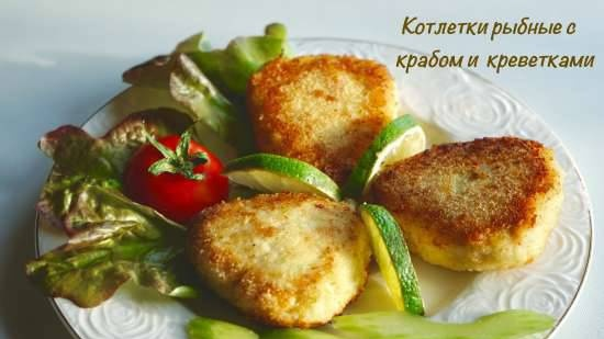 Fish cutlets with crab meat and shrimps