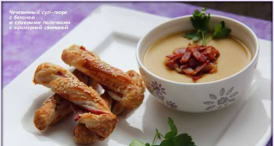 Lentil soup with bacon and puff sticks with marbled pork (Smile 3700 soup cooker)