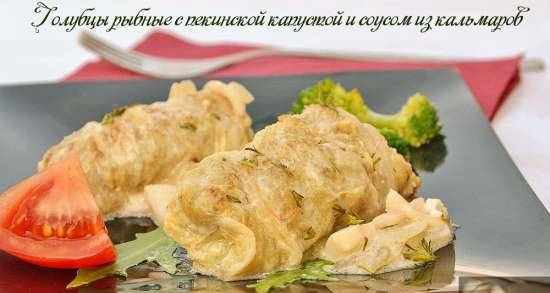 Fish cabbage rolls with Chinese cabbage and squid sauce