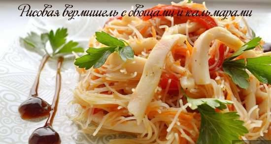 Rice noodles with vegetables and squid (lean)